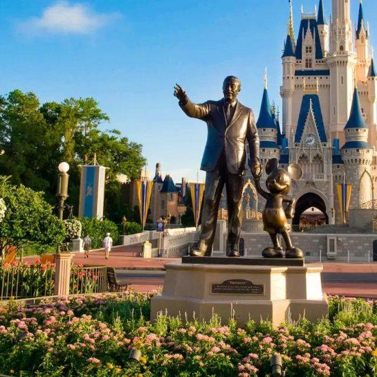 Disney Walt Disney and Mickey Mouse Bronze Statue