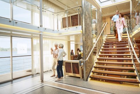 Viking River Cruise Luxury Vacation Atrium Stairs
