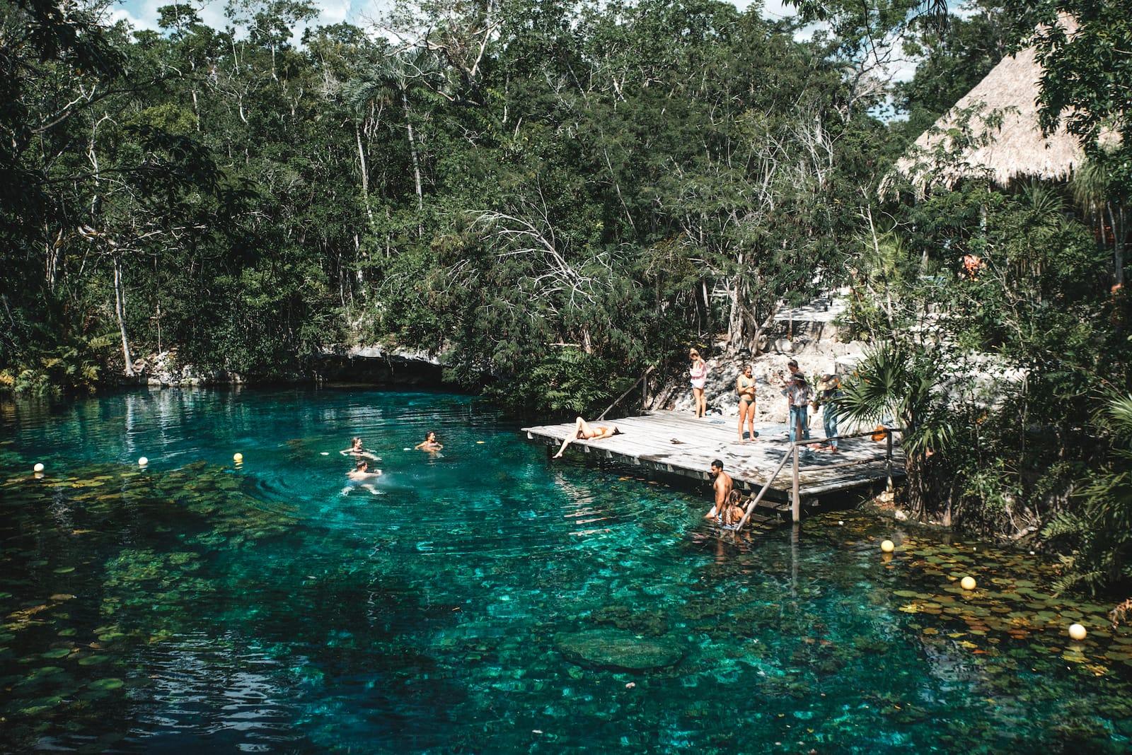 swimming in lagoon adventure all inclusive resort mexico romantic vacation