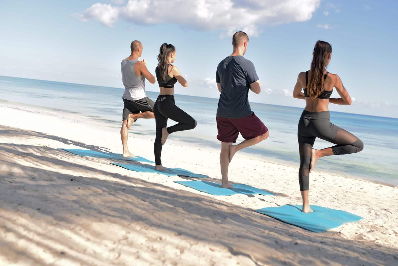 Beach yoga adventure all inclusive resort mexico romantic vacation