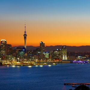 Auckland City New Zealand Sunset