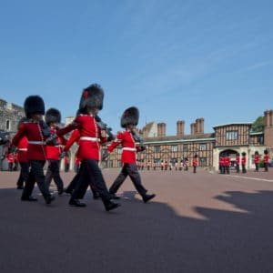 Windsor Castle Guards Queen's Guard during the changing of guard ceremony