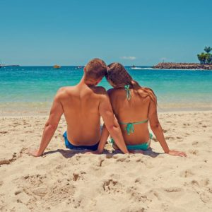 Couple Sand Beach Romantic Vacation Caribbean Ocean