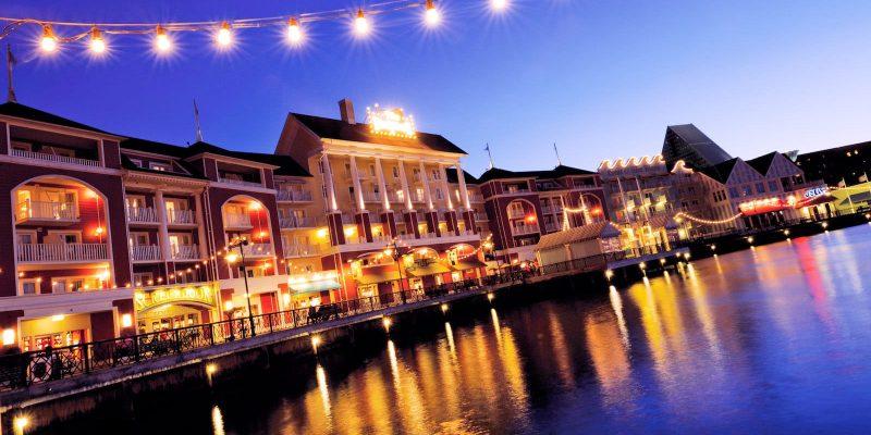 Disney World Board Walk Inn Night Lights Luxury Family Vacation
