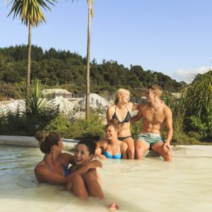 Friends Relaxing in Hot Springs Hells Gate Rotorua