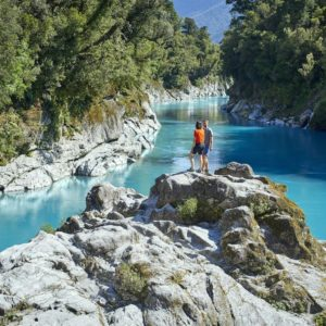 Couple overlooking Hokitika Gorge West Coast