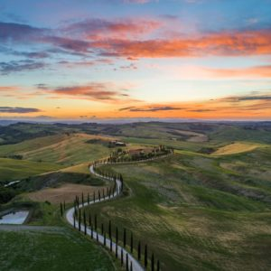 San Quirico d'Orcia, Italy sunset