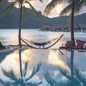 Tahiti Bora Bora Infinity Pool Hammock Bungalows