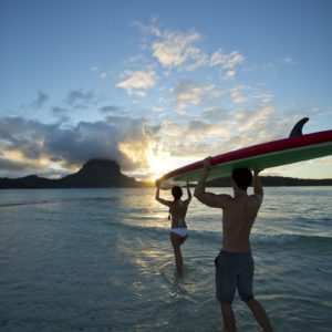 Tahiti Bora Bora Paddleboard Romantic Vacation Couple