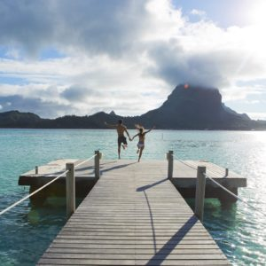 Tahiti Bora Bora Romantic Couple Luxury Vacation Honeymoon Pier Jumping Diving