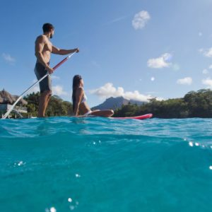 Tahiti Bora Bora Romantic Honeymoon Couple Paddleboard