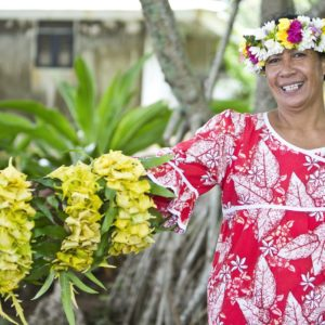 Tahiti Rurutu Traditional Dress Woman Handmade Lei