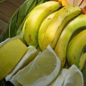 Tahiti Tikehau Fresh cut limes bananas island produce