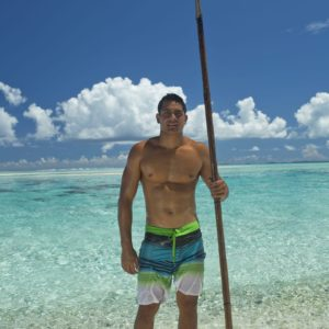 Tahiti Tikehau Spearfishing Man Ocean Beach