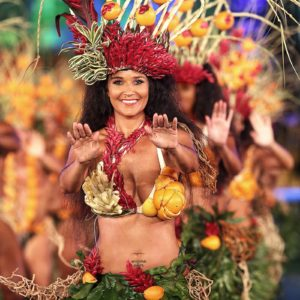 Tahiti - Woman Dressed in Traditional Fruit and Leaves
