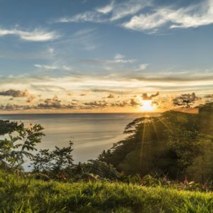 Tahiti raiatea sunset ocean lush vegetation