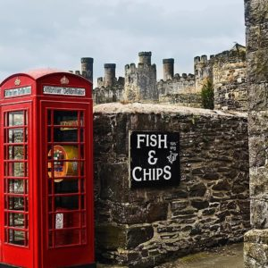 United Kingdom Phone Kiosk Phone Booth Fish and Chips