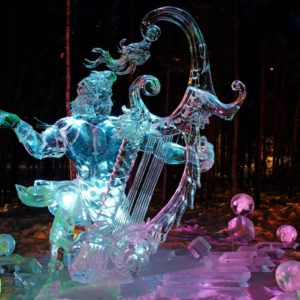 Alaska Luxury Vacation Fairbanks Ice Sculpture Harp Greek God