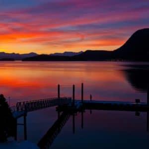 Alaska Luxury Vacation Juneau Water Sunset Reflection Dock Red