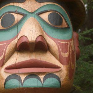 Alaska Luxury Vacation Ketchikan Totem Face Closeup