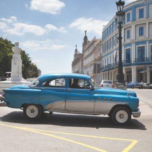 Car Blue Havana Cuba Luxury Vacation