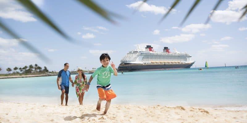 Disney Castaway Cay Father Mother Child Boy Family Beach Cruise Line Ship