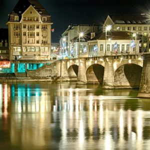 Europe Luxury Switzerland Vacation Basel Rhine Night Lights Mirroring Gold