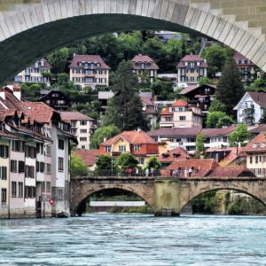 Europe Luxury Switzerland Vacation Bridge River Bern Water Buildings Historical