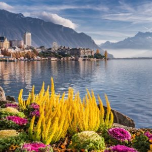 Europe Luxury Switzerland Vacation City Lake Mountains Landscape Montreux