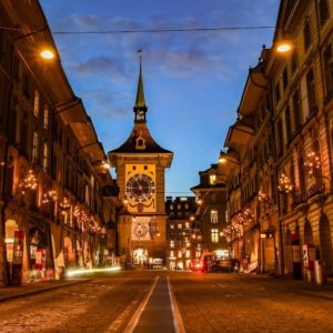 Europe Luxury Switzerland Vacation City Street Lights Lighting Urban Road Tower