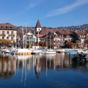 Europe Luxury Switzerland Vacation Lake Geneva Lutry Lake Leman Mountains Vaud
