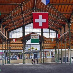 Europe Luxury Switzerland Vacation Montreux Market Hall Event Hall Flags Vaud