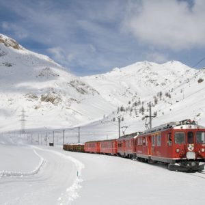 Europe Luxury Switzerland Vacation Railway Bernina Railway Lagalb Bernina Winter