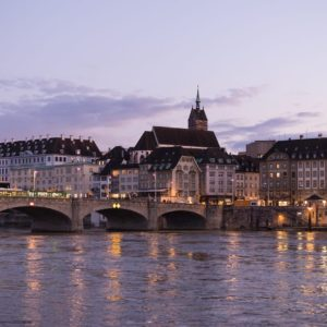 Europe Luxury Switzerland Vacation Rhine River Middle Bridge Landmark Basel