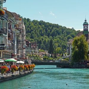 Europe Luxury Switzerland Vacation Switzerland Thun Downtown Aare Promenade