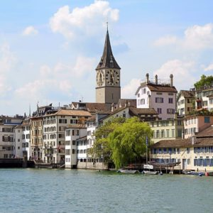 Europe Luxury Switzerland Vacation Switzerland Zurich Limmat River Water Steeple