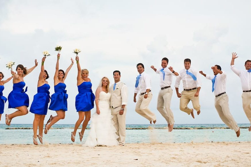 Luxury Destination Wedding Ceremony Mexico Bridal Party Bride Groom Beach Ocean Fun Celebration Photo Just Married