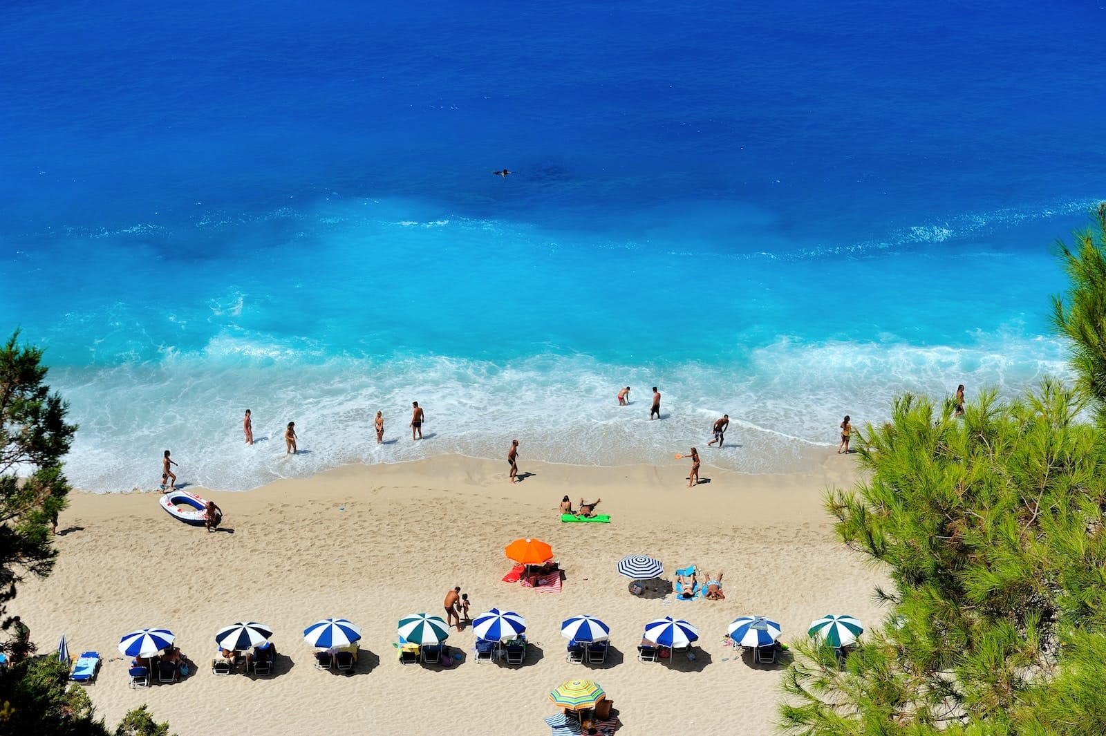 Luxury Family Vacation Lefkada Greece Golden Beach During Summertime