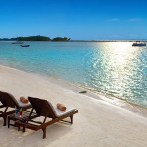 Luxury Thailand Vacation Chaweng Beach Two Beach Chairs Ocean White Sand