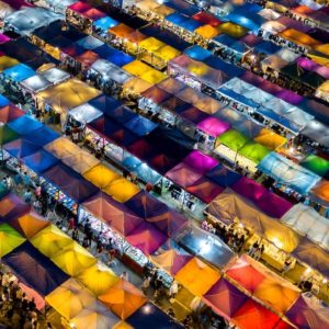 Luxury Thailand Vacation Night Market From Above