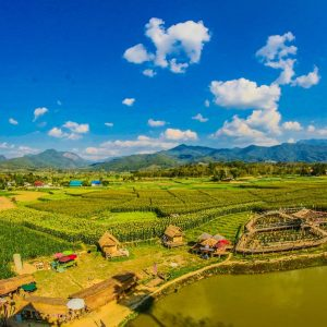 Luxury Thailand Vacation Rice Field With Mountain And Houses During Cloudy Day Agricultural Agriculture Asia
