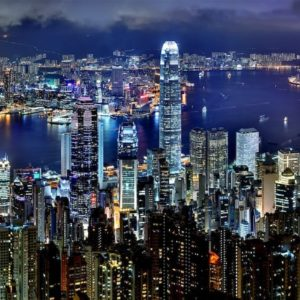 Luxury Vacation China Asia Hong Kong Skyline Night Architecture Asia