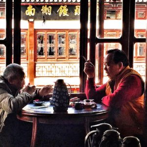 Luxury Vacation China Asia Old Men Drinking Tea In Old Tea House In Shanghai