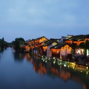 Luxury Vacation China Asia Wuzhen At Dusk South Of Yangtze River Blue Serenity