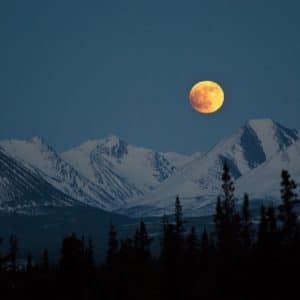 Mountains Night Full Moon Landscape Sky Snow Alaskan Luxury Vacation