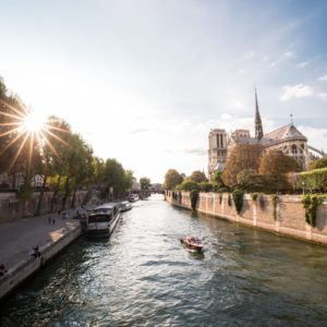notre dame seine river paris france