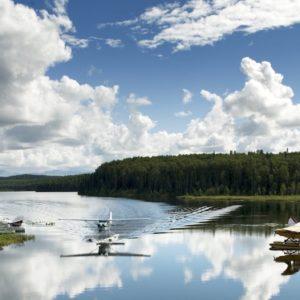 Seaplane Airplane Float Pontoons Water Fish Lake Alaskan Luxury Vacation