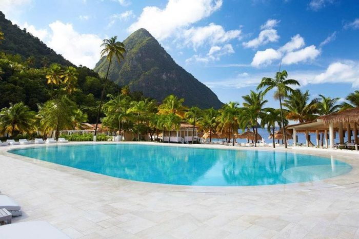 St Lucia Sugar Beach Pool Pitons