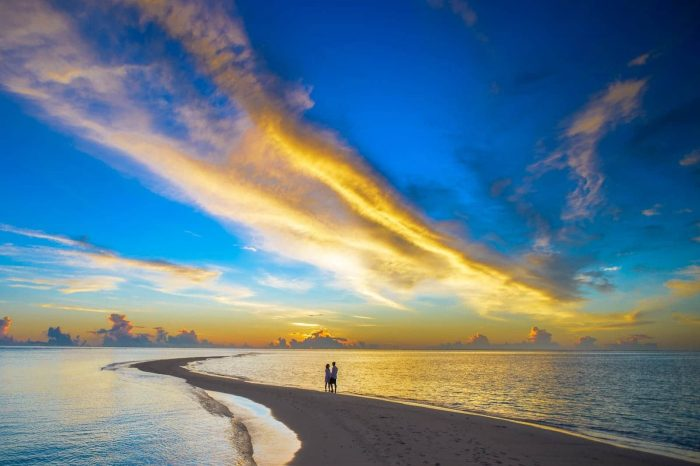 Sunset Couple Cloud Island Beach Travel Sky Sea Honeymoon