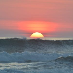 Sunset Ocean Water Waves Tropical Coast Outdoor